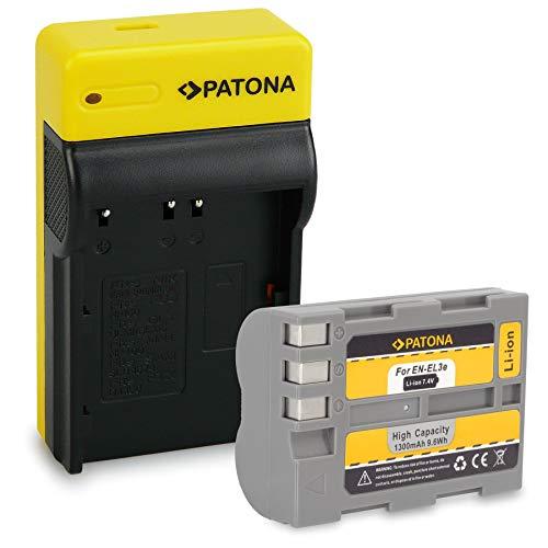 PATONA Bateria EN-EL3E con Estrecho Cargador Compatible con Nikon D5000, D3000, D700, D200, D100