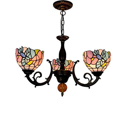 Tiffany Style Hummingbird 3 Arms Kroonluchter Vintage Pastorale BloemenGebrandschilderd glas hanglamp voor Living Eetkamer Slaapkamer Cafe, E27