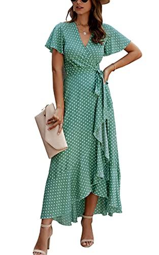 ECOWISH Women's Dresses Bohemian Wrap V Neck Short Sleeve Ethnic Style High Split Beach Maxi Dress 032 Green Medium