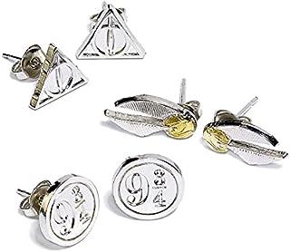 HARRY POTTER Symbols Femme Set de Boucles d'oreilles Couleur Argent,
