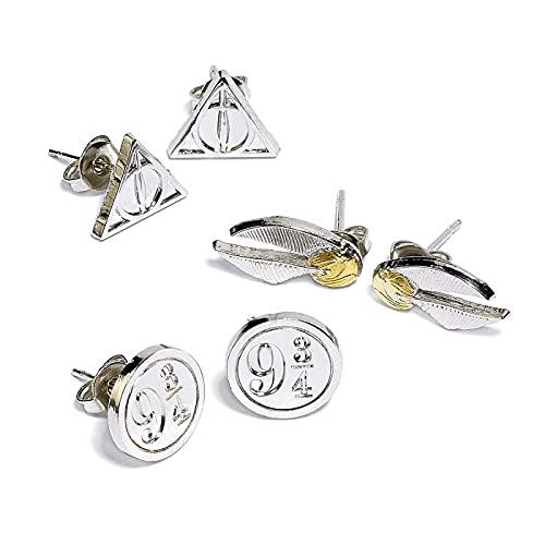 HARRY POTTER Symbols Mujer Set de Pendientes Plateado, Aleación de Zinc,