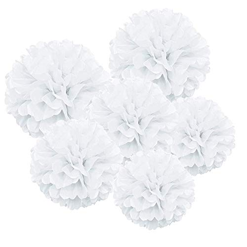 AILANDA 24PCS Pompoms Paper White Paper Flower Ball Tissue Paper Flowers Pompom Decorations for Wedding Birthday Party Baby Shower Festival Decorations 11.8/9.8/7.9 Inch