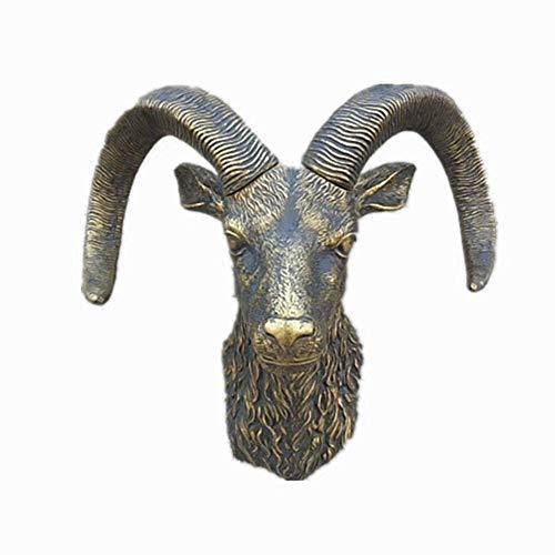 MUZIDP Escultura para colgar en la pared con cabeza de animal, cabeza de oveja para colgar en la pared, estatua retro para decoración de pared del hogar