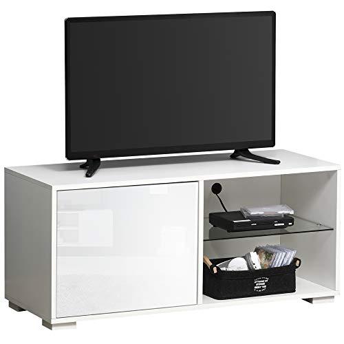 HOMCOM TV Schrank TV-Kommode mit Schubladen und Offene Regale Spanplatte Glas Weiß 100 x 40 x 45 cm