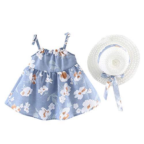 Kleinkind Baby Mädchen Ärmellose Blume Blumendruck Prinzessin Kleid + Hut Cap Outfits