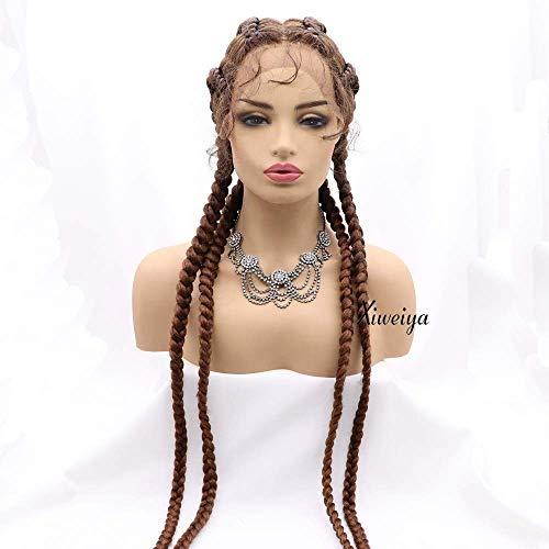 Xiweiya 81,3 cm extralange 100% handbraune geflochtene 360 Schweizer Lace-Front-Perücke mit Babyhaar für Frauen, synthetische gedrehte Zöpfe, Perücke