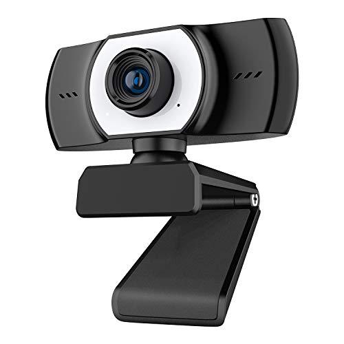 ieGeek PC Webcam con Micrófono, Cámara Web Full HD 1080P USB 2.0 para Videollamadas, Estudio, Conferencia, Grabación, Diseño Plegable y Giratorio de 360 °, Micrófono con Cancelación de Ruido