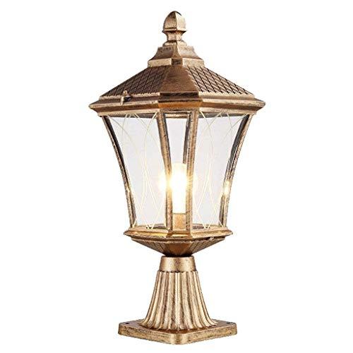 MYXMY Outdoor spalte Kopf Lampe Europäischen spalte Lampe wasserdichte tür spalte Lampe Wandleuchte tür Lampe Hause Villa Garten Wandleuchte (Color : Brass)