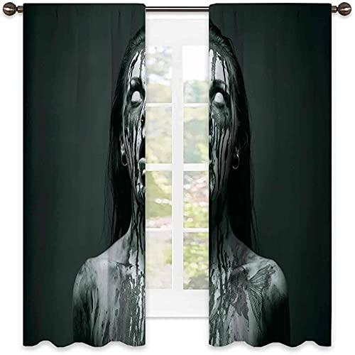 Zombie Decor 99% cortina opaca, inusual Scream Monster Woman con ojos vacíos mirando hacia arriba imagen de terror, para dormitorio, jardín de infantes, sala de estar, 52 x 54 pulgadas, negro y blanco