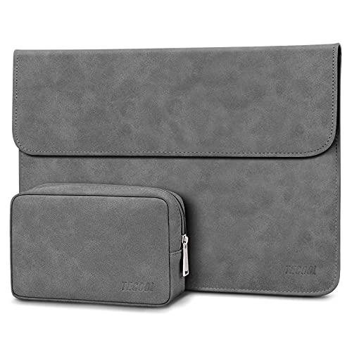 TECOOL 13 3 Zoll Laptop Hülle Tasche Faux Wildleder Schutzhülle & Zubehörtasche für MacBook Air 13, MacBook Pro 13, Huawei MateBook, 13.5