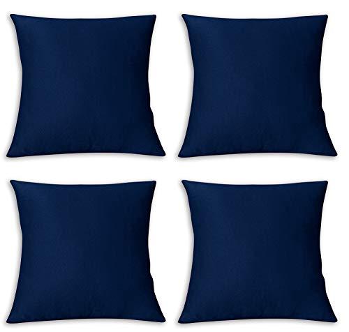 FARFALLAROSSA Kissenbezüge, quadratisch, wasser- und schmutzabweisend, Dekoration für Sofa zu Hause, 40 x 40 cm, Blau, 4 Stück