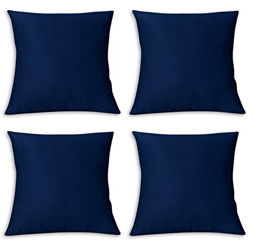 FARFALLAROSSA Copricuscini Fodere per Cuscini Quadrate, Impermeabile e Antimacchia, Decorazione per Divano Casa, 55x55 cm Blu Pacco da 4