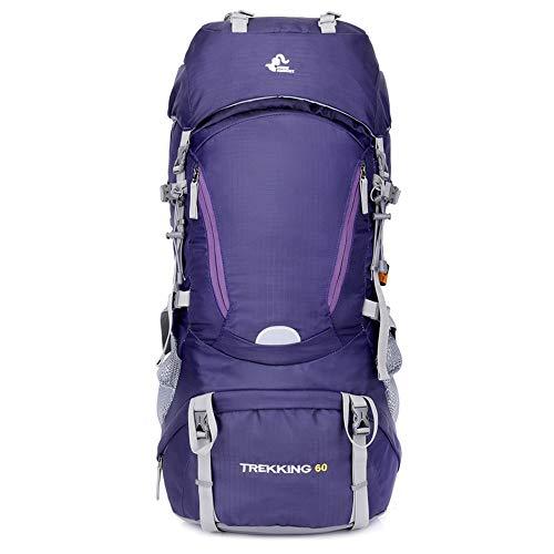 Toolsboy Senderismo Mochila, Trekking Camping Mochilas Impermeable al Aire Libre de Gran Capacidad con Cubierta de Lluvia,Purple