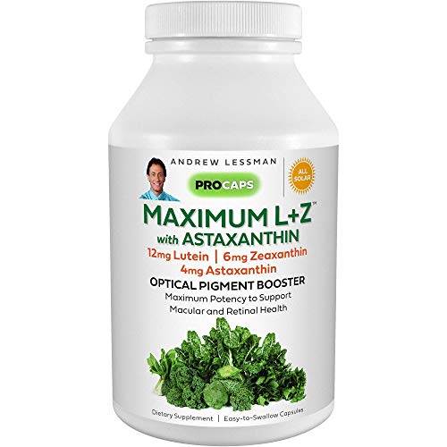 Andrew Lessman Maximum L+Z with Astaxanthin 120 Softgels – 12mg Lutein, 6mg Zeaxanthin, 4mg Astaxanthin. Key Nutrients to Support Eye and Brain Health, and Promote Healthy Vision.