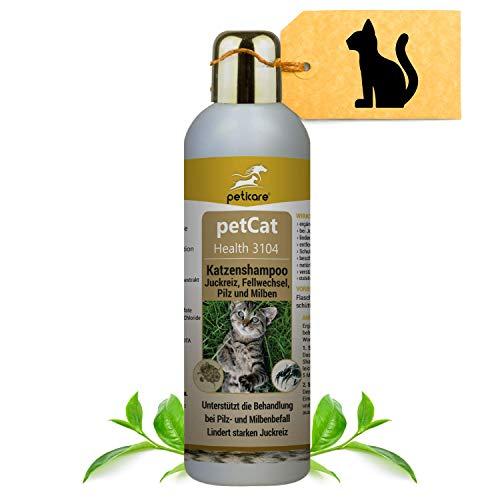 Peticare Katzen-Shampoo gegen Juckreiz Milben Pilz Floh - Speziell für Katzen und Kitten, p-H neutral Wert 7,3 stoppt unangenehmen Fell-Geruch, pflanzliche Inhaltsstoffe - petCat Health 3104 (250 ml)