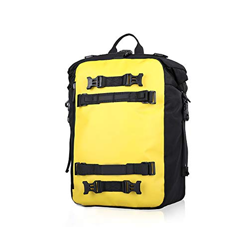 Not application 30L Large Capacity Motorcycle Waterproof Tail Bag Stable Motorbike Rear Seat Pack with Detachable Zipper Yellow