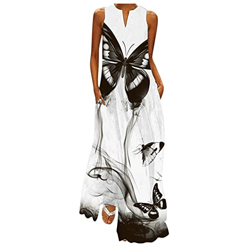 iZZZHH Summer Women's Casual V-Neck Printed Long Sleeveless Loose Long Dress with Pockets Multi-Pattern