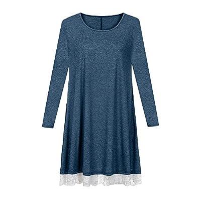 Dress Women's Fashion Warm Pocket Lace Cotton Blend Skirt(Blue,3XL)