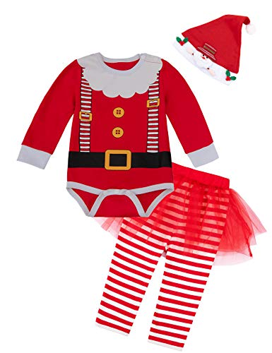 Baby Girls Christmas Costume Santa Claus Outfit Set Newborn Xmas Cute Clothes(0-3Month) Red