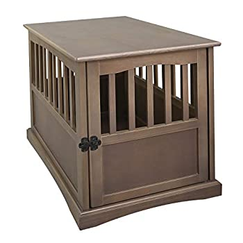 Casual Home Medium Wooden Indoor Pet Crate Dog House Kennel End Table Night Stand Furniture Taupe Gray