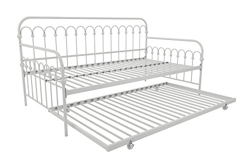 Novogratz Bright Pop Daybed with Trundle | Twin Size Frame in White color