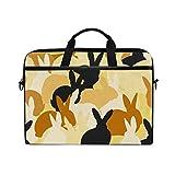 WXLIFE Cute Rabbit Bunny Hare Pattern 13 13.3 14 Inch Laptop Shoulder Messenger Bag Case Sleeve Briefcase with Handle Strap for Men Women Boys Girls