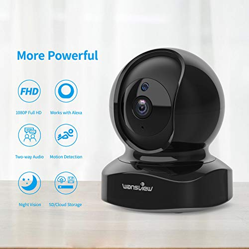 Wansview Wireless Security Camera, IP Camera 1080P HD, WiFi Home Indoor Camera for Baby/Pet/Nanny, Motion Detection, 2 Way Au   dio Night Vision, Works with Alexa, with TF Card Slot and Cloud
