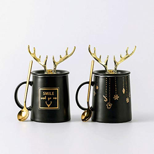 Tazza Mug Boutique Hotel Lussuoso Coffee Shop 2 Colori opzionali Ins Coppia Creativa Mug Corna di Ceramica nordica Cucchiaio per la casa conCoperchio Latte Tazza da caffè C + D 360ML * 2