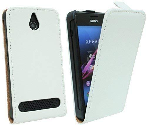ENERGMiX Klapptasche Schutztasche kompatibel mit Sony Xperia E1 (D2005) in Weiß Tasche Hülle