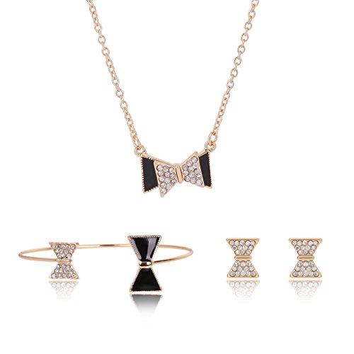 Manman - Conjunto de joyas para mujer, diseño de arco, brillantes, collar y pulsera para novia.