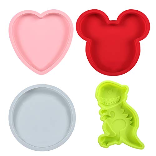 Magigift 6 Inth Silicone Cake Molds Baking Bakeware Pan, Mouse & Dinosaur & Heart & Round Shapes Cake Baking Pans (4pack)