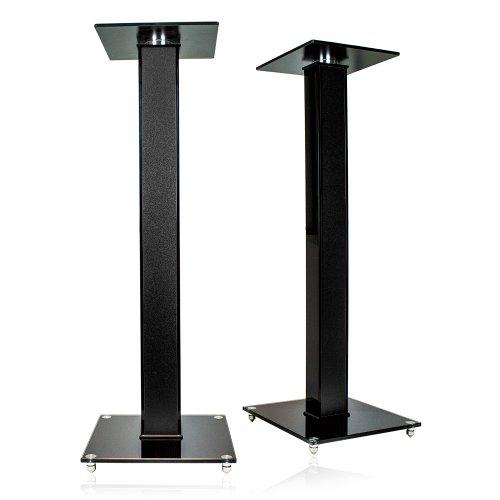 minify BS03 Exklusive Boxenständer in schwarzem Hochglanz mit Dekoreinlage -schwarz/matt-