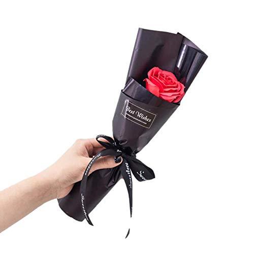 Simulation Große Rosenblumenseife Kleiner Kunststoffstrauß,Deko Blumen Gefälschte Rosen Plastik Braut Valentinstag Hochzeitsblumenstrauß für Haus Garten Party Blumenschmuck(Roter schwarzer Hintergrun)
