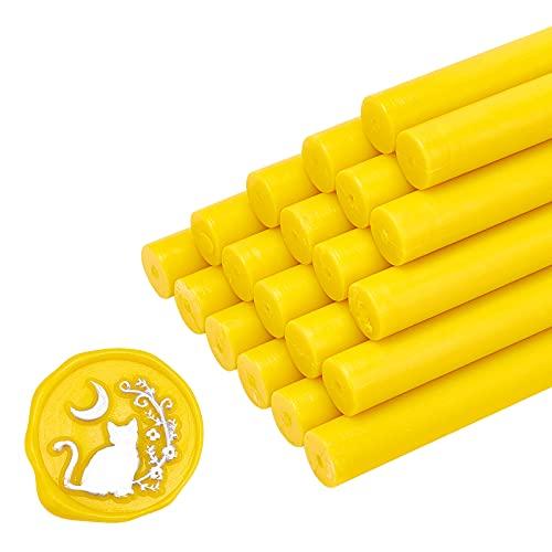 CRASPIRE 20 barras de cera para sellar pistolas de pegamento, amarillas de 11 mm, para sello de cera, sellado, vintage, para Halloween, invitaciones, tarjetas, sobres, envolver regalos