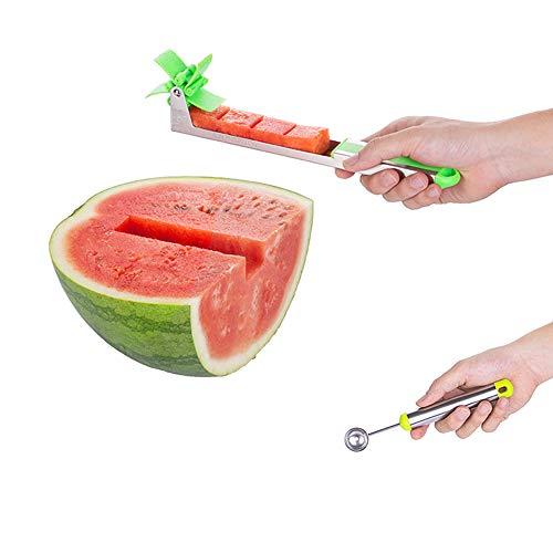 Cortador de sandía – Cortador de cuchillos de acero inoxidable – Herramientas de frutas y verduras – Cocina Gadgets con cuchara de melón extra