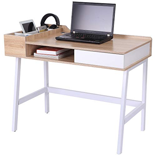 HOMCOM Computer Writing Desk Workstation with Drawer, Storage Compartments, Cable Management, Laptop...