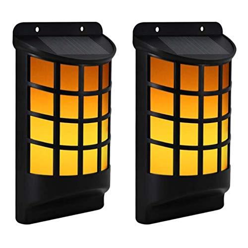 2er Pack Solarlampen für Außen, LED Solarleuchte mit Flackerlicht, 2200mAh IP65 Wasserdicht Solar Beleuchtung Solarlicht Solarleuchten Garten Wandleuchte Sicherheitswandleuchte