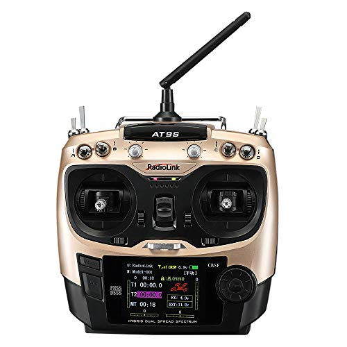 FairOnly Radiolink 2019 AT9S Pro TX 10/12CH RC Radio Controller T8S Crossfire Protocols with R12DSM RX 2.4G for Racing Drone Mode 1/2 Golden Right-Hand Throttle (Mode1)