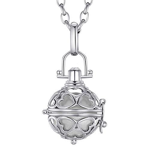 Morella® Damen Halskette Edelstahl 70 cm mit Herz-Kugel Anhänger und Klangkugel Silber Ø 16 mm in Schmuckbeutel