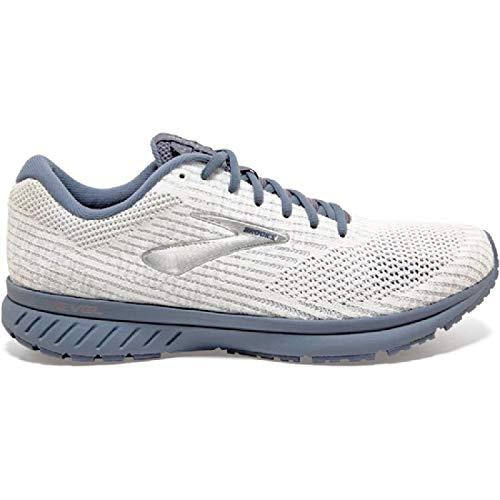 Brooks Men's Revel 3 Running Shoes, (Size 8.5, White/Flint Stone/Pewter)