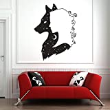 HGFDHG Lobo Chica Pared calcomanía Sala de Estar Mural Arte Pared Pegatina diseño Animal Naturaleza Luna Lobo Tatuaje