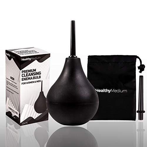 HealthyMedium Enema Bulb Anal Silicone Douche Comfortable for Men and Women - 7 Ounce Black Enema Bulb Kit with 2 Nozzles and Storage Bag