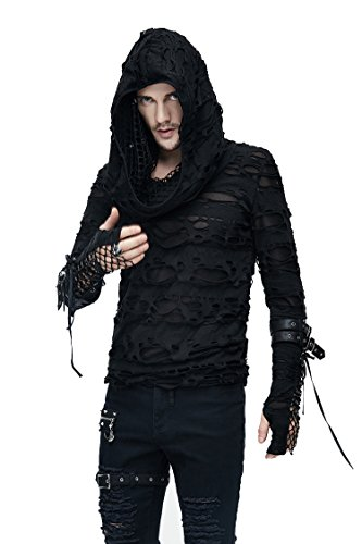 Devil Fashion Gothic Herren Mode Schwarz Löcher Masche Langarmshirt Steampunk Männer Lässig Lange Hülsen Tops Kapuzenpullover (S)