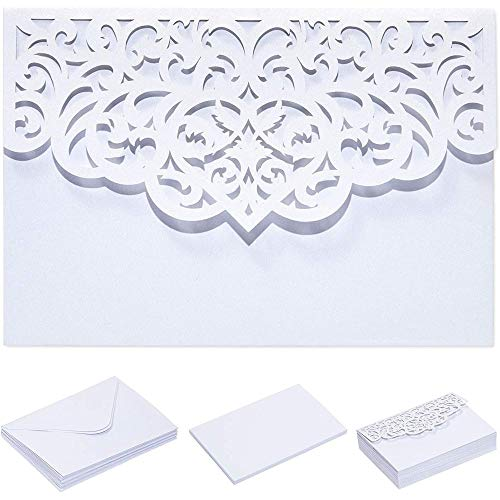 White Laser Cut Wedding Invitations with Envelopes (7.15 x 4.95 in, 24 Pack)