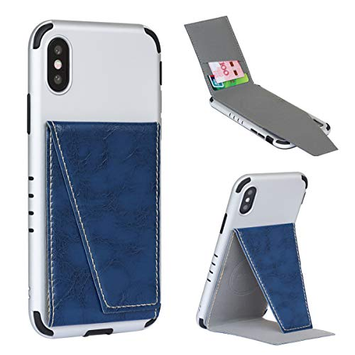 BIBERCAS Phone Card Holder with Stand,Adhesive Stick On Credit Card Slot, Leather Wallet Case with Kickstand for iPhone Android Universal Smartphones-Dark Blue