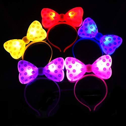 Niumanery 5Pcs/Set Adult Kids Luminous LED Light Headband Cute Bow Style Hair Hoop