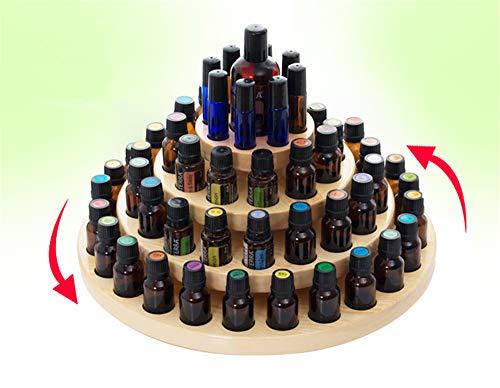 PhantomSky 63 Löcher Holz Organizer Ätherisches Öl und Aromatherapie Display Regal Halter Ätherische Öle Flaschen Aufbewahrung Geschenk-Box - Geeignet für Duftöle, Ätherisches Ölen