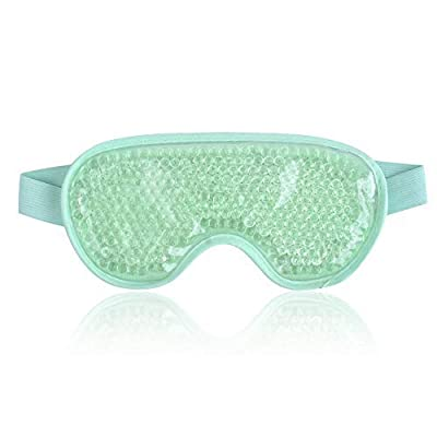 Eye Mask Cooling Reusable Eye Mask with Gel Beads for Hot Cold Therapy, Pain Relief Mask and Eye Pillow for Puffy Eyes Stress Relief, Migraine, Headache and Sinus Pain(Light Blue)
