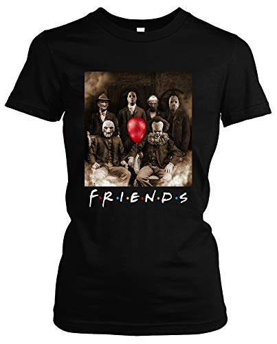 Friends Horror Damen Girlie T-Shirt | Horror Halloween Nightmare Freddy Michael Myers Jason Clown (M)