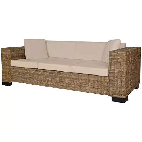 UnfadeMemory Muebles de Jardin Exterior,Sofá de Jardín,con Cojines y Almohadas,Fundas de Cojín Extraíbles,Ratán Natural (3 Plazas-200x80x61cm, Natural)